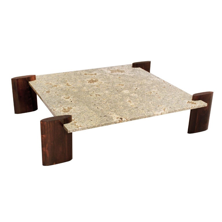 Rosewood And Pale Blue Granite Coffee Table Attributed To Celina For Sale At 1stdibs