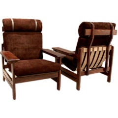 Pair of oak and brown suede Scandinavian lounge chairs