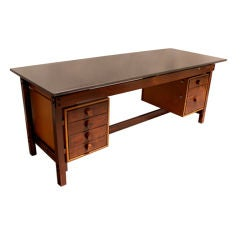 Solid Rosewood, Leather And Granite Desk By Sergio Rodrigues
