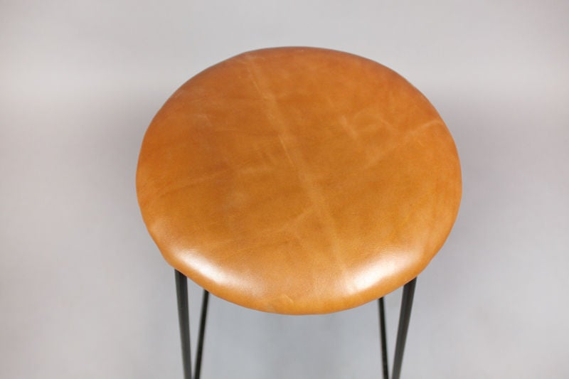 Set Of Four Caramel Leather And Iron Bar Stools At 1stdibs