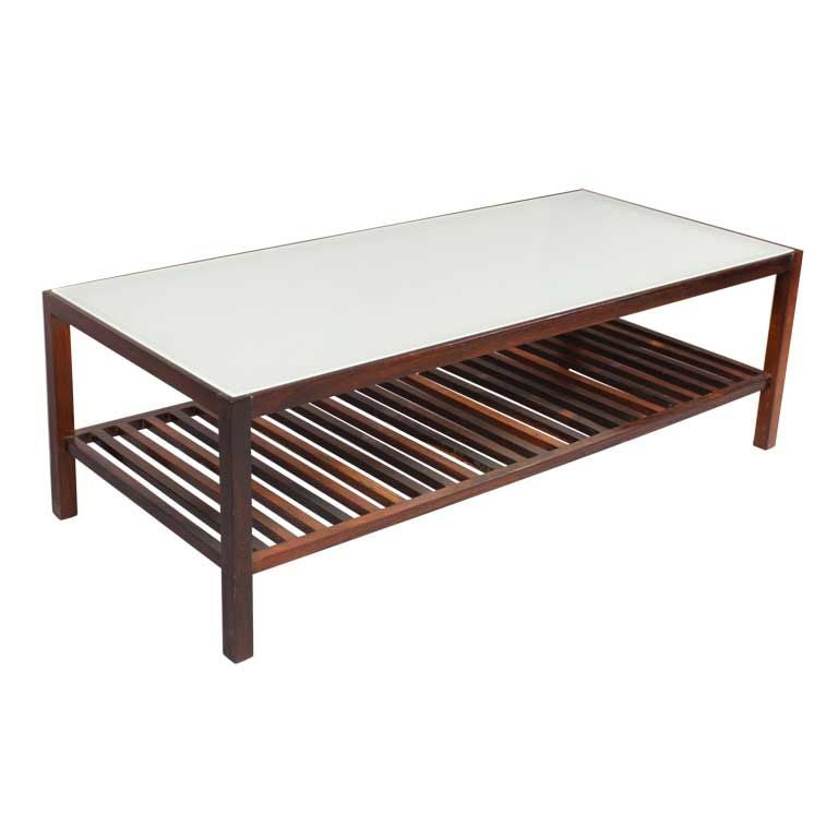 Brazilian Rosewood Coffee Table With Frosted Glass Top At 1stdibs