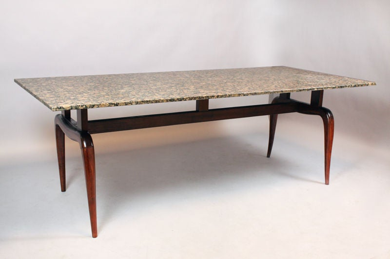 Solid Brazilian Caviuna And Black Granite Dining Table For Sale At 1stdibs
