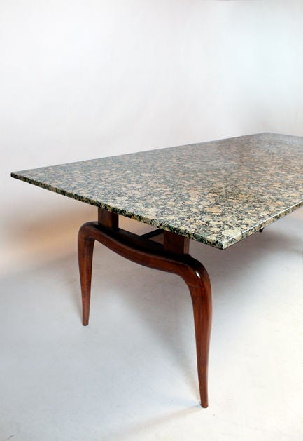 brazilian caviuna and black granite dining table for sale at 1stdibs