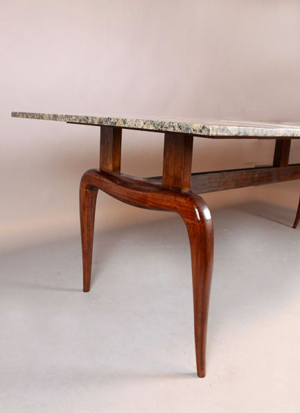 solid brazilian caviuna and black granite dining table for sale at