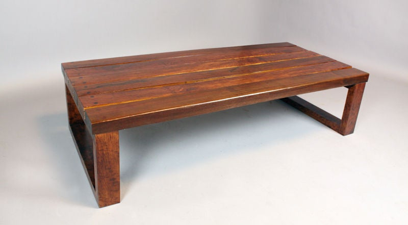 American Massive Rectangular Solid Ipe Plank Coffee Table From Brazil For  Sale