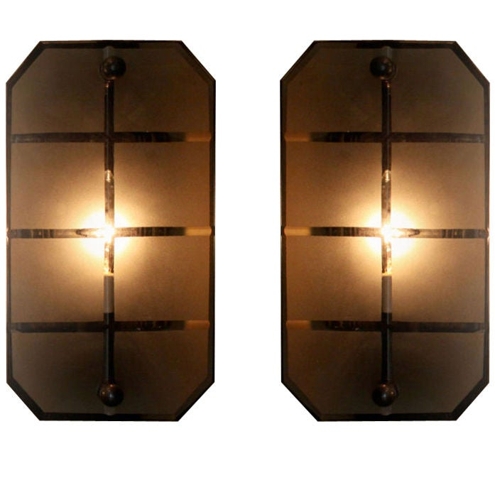 Etched Glass And Bronze Sconces From Brazil Priced