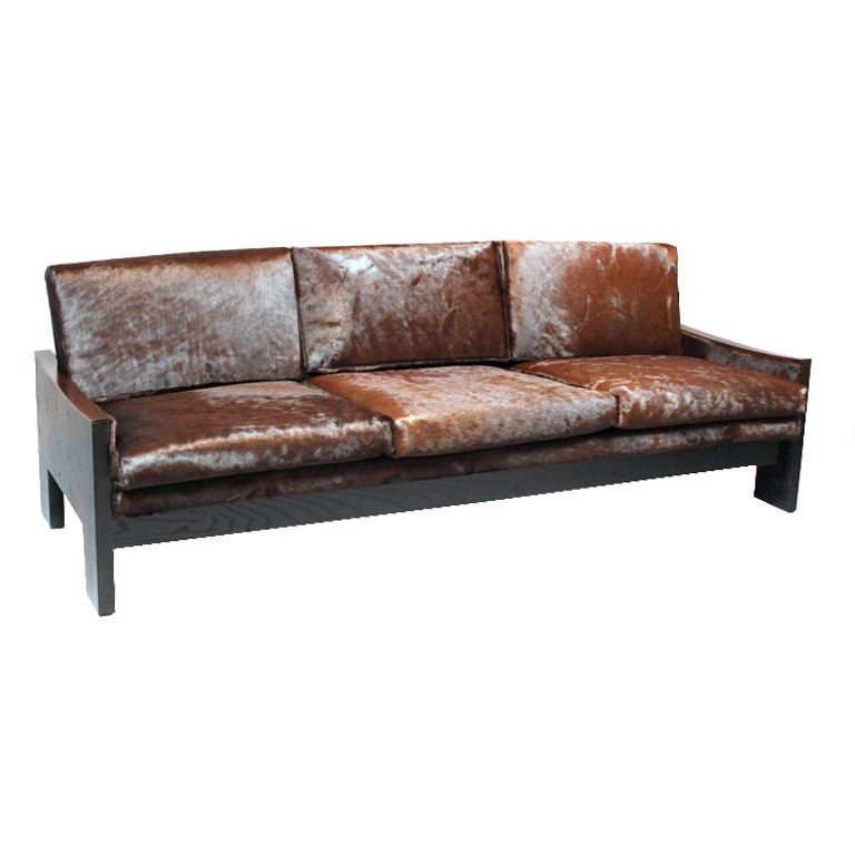 Leather Hide A Bed Sofa: Ebonized Oak, Rosewood And Brown Hair On Hide Sofa At 1stdibs
