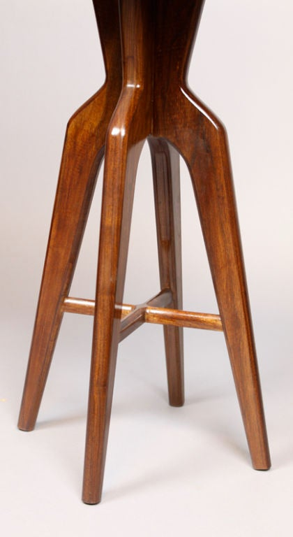 Set Of 3 Custom Sculptural Solid Wood Bar Stools By Thomas