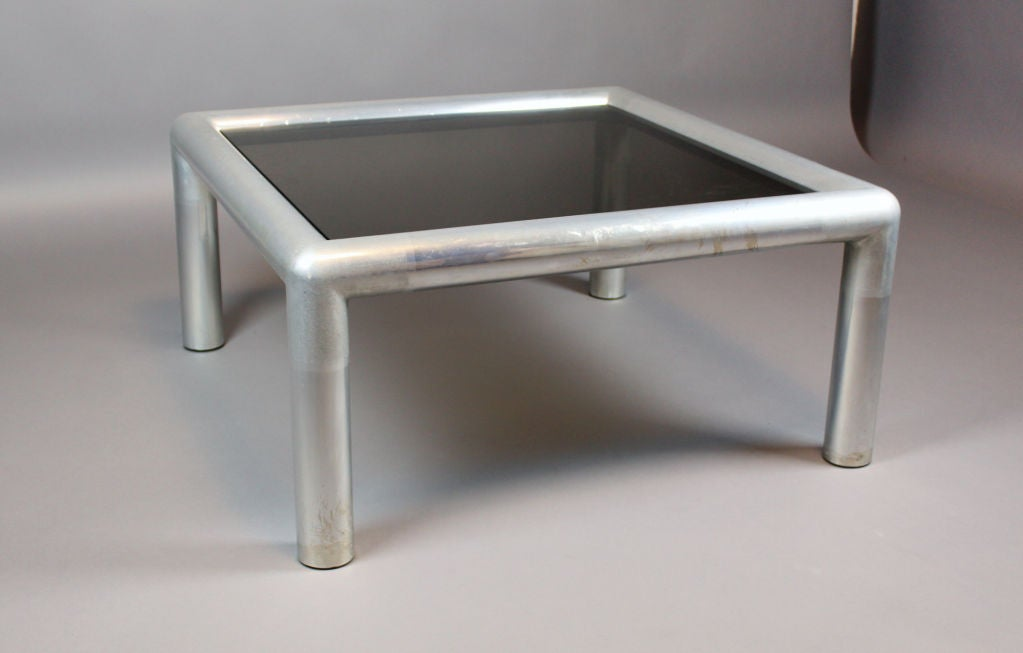 Square Aluminum And Glass Coffee Table 2