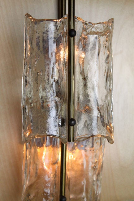 Italian Glass Wall Sconces : Pair of Italian glass and bronze wall sconces at 1stdibs