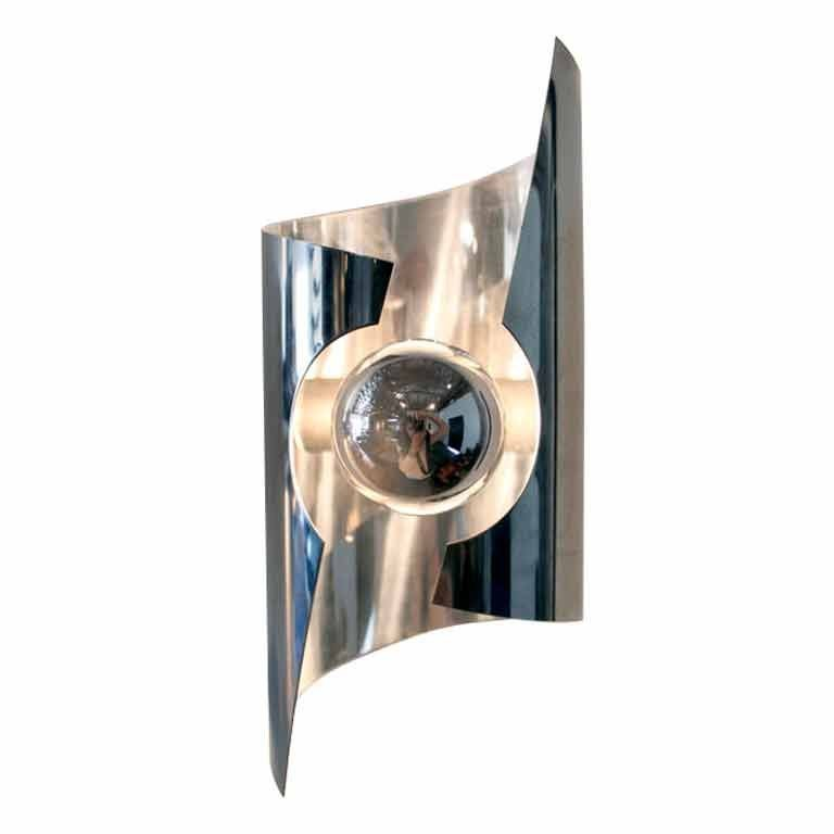 Cylindrical chromed steel sconce sciolari attribution at - Cylindrical wall sconce ...
