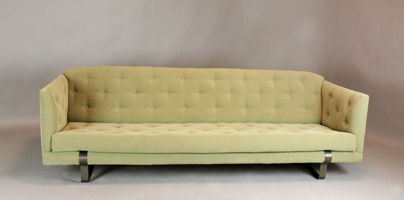 Light Olive Green, Tufted Tuxedo Sofa With Bronze Feet At 1stdibs
