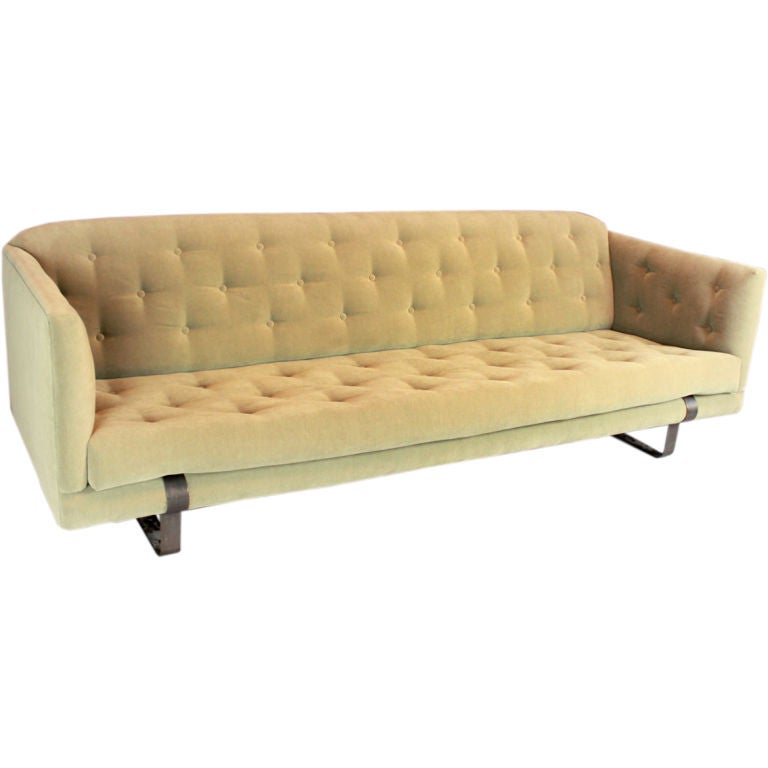Light olive green tufted tuxedo sofa with bronze feet at for Light green sectional sofa