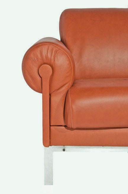 burnt orange leather and steel sofa by maison jansen at