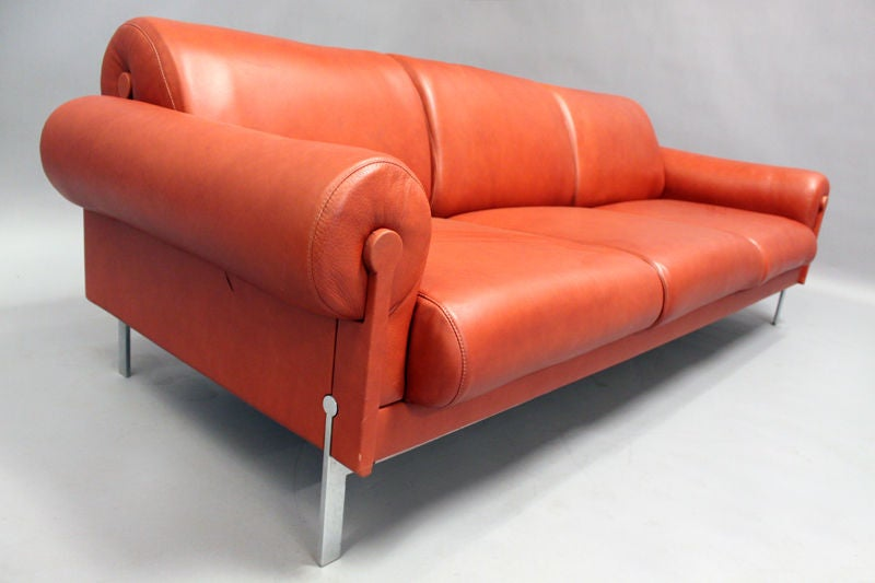 Burnt Orange Leather and Steel Sofa by Maison Jansen at 1stdibs