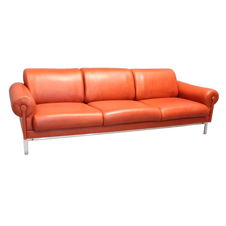 Burnt Orange Leather and Steel Sofa by Maison Jansen at ...
