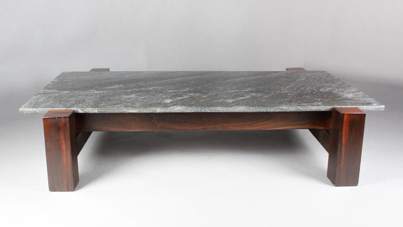 Brazilian Rosewood and Black Granite Coffee Table 2