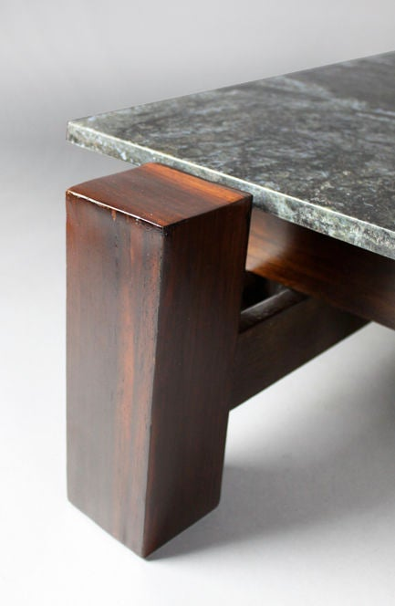 Brazilian Rosewood And Black Granite Coffee Table For Sale 1