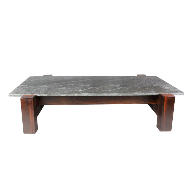 Brazilian Rosewood And Black Granite Coffee Table At 1stdibs