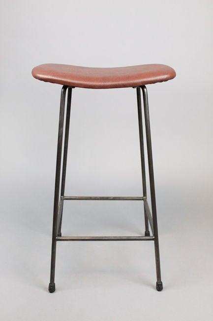 Set Of 3 Bronze And Leather Bar Stools At 1stdibs
