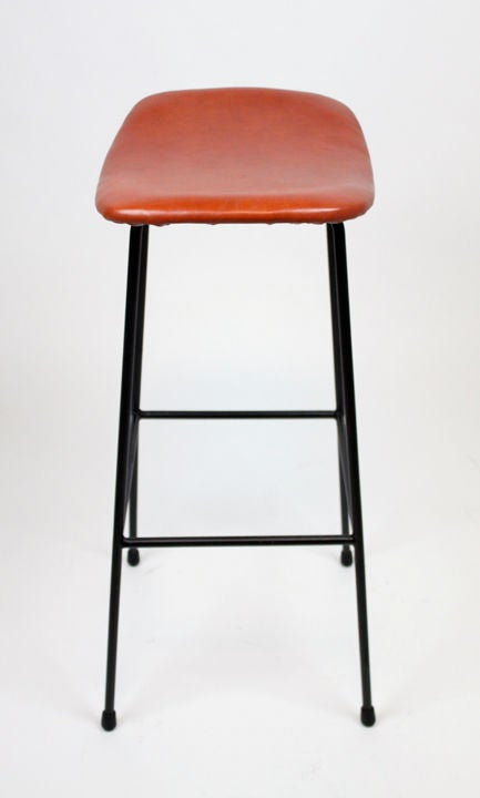 Set Of 4 Bronze And Red Leather Bar Stools At 1stdibs
