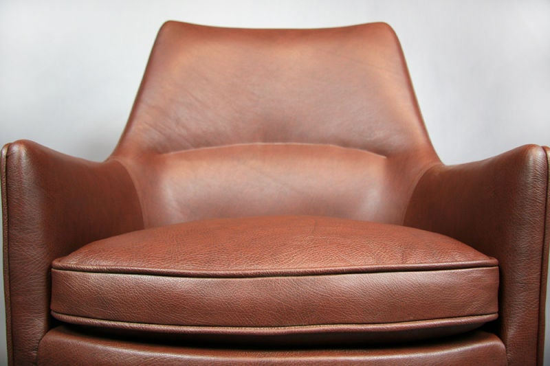 this pair of leather and walnut lounge chairs by jens risom is no