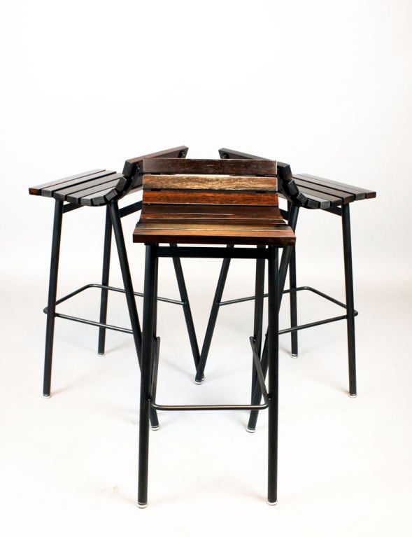 Custom Slat Bar Stools In Salvaged Rosewood By Thomas