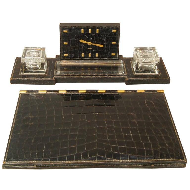 Vintage Hermes Desk Set In Black Crocodile At 1stdibs