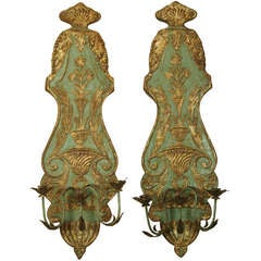 Pair of Large Italian Carved Wood Candle Sconces