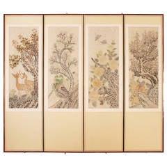 Mid-20th Century Hand-Painted Korean Screen