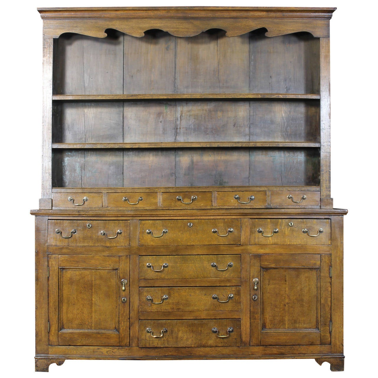 19th Century English Oak Dresser For Sale