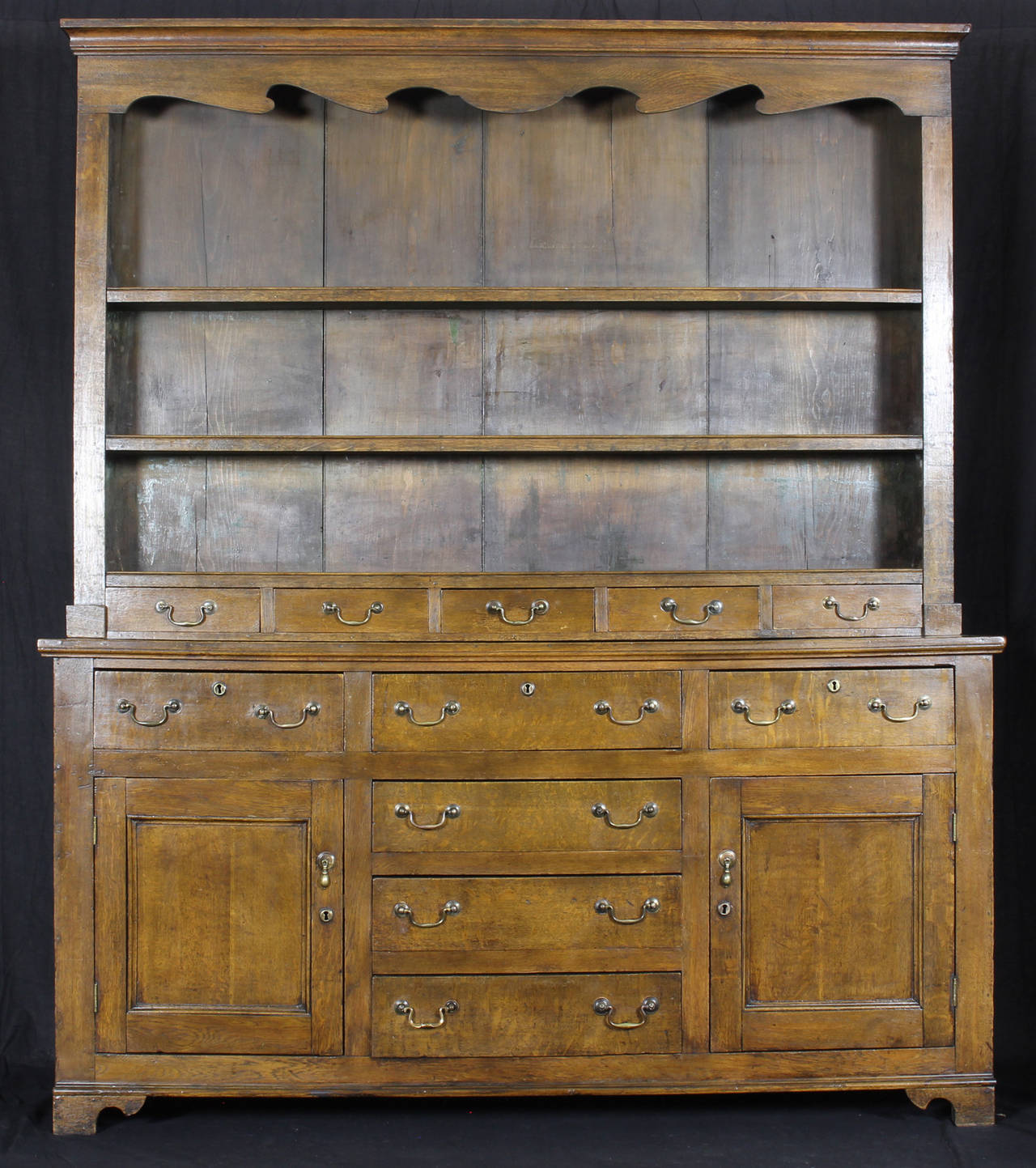 George III 19th Century English Oak Dresser For Sale