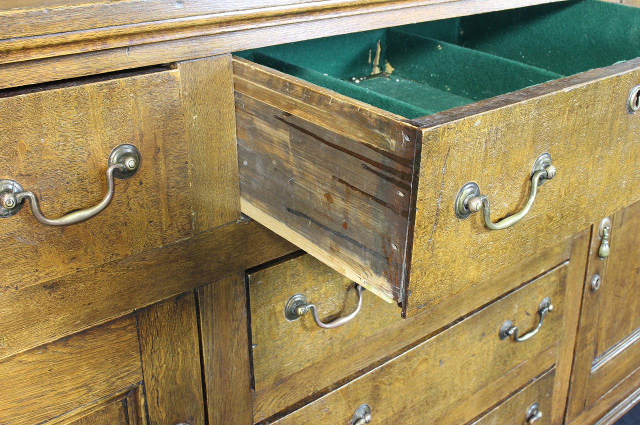 Brass 19th Century English Oak Dresser For Sale