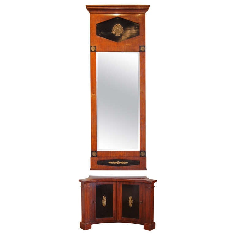 Hall Cabinet with Matching Pier Mirror For Sale