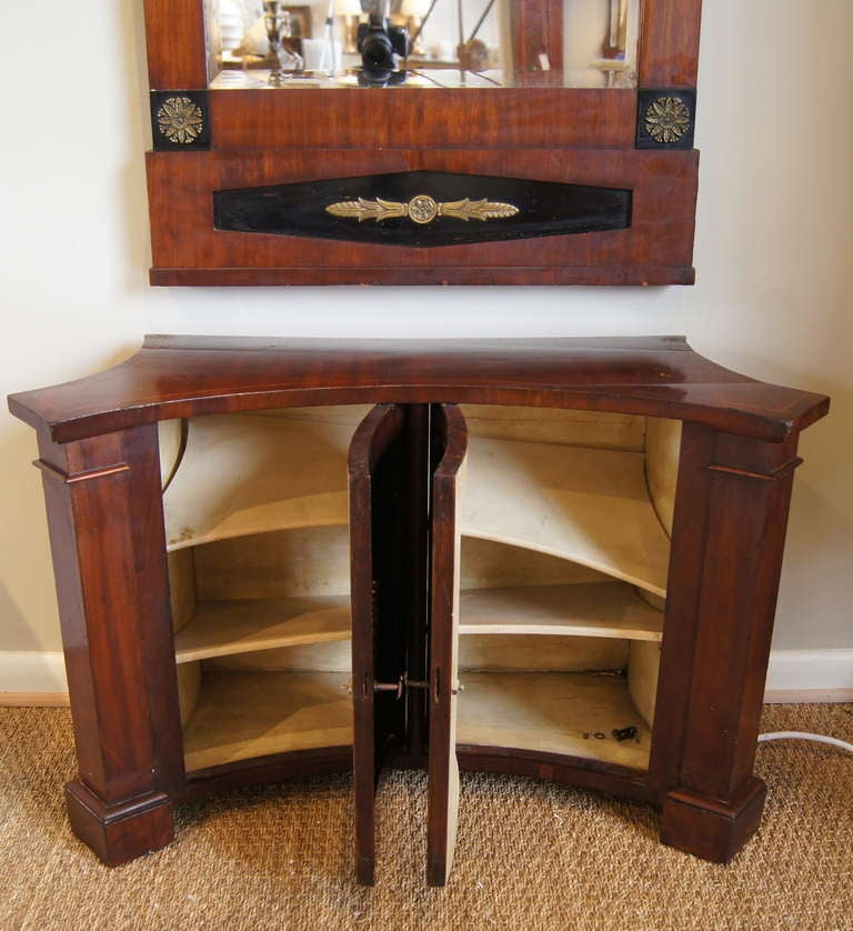 British Hall Cabinet with Matching Pier Mirror For Sale