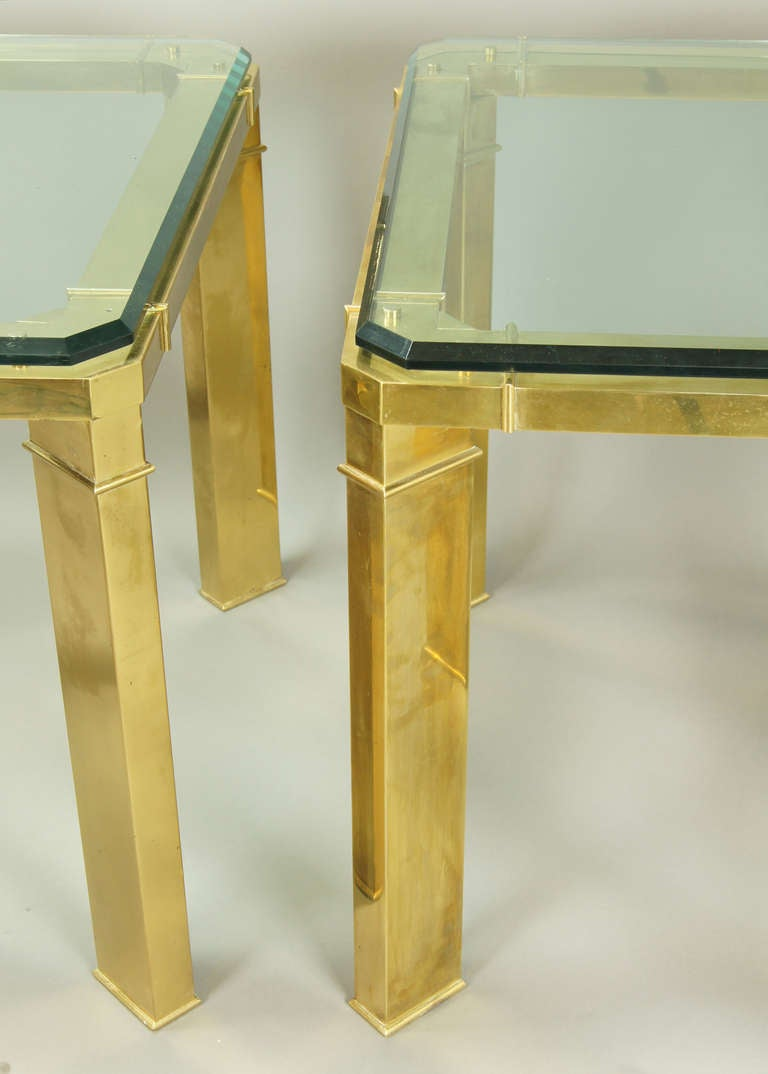 Pair Of Italian Brass And Glass End Tables At 1stdibs