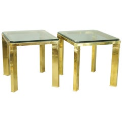 Pair of Italian Brass and Glass End Tables
