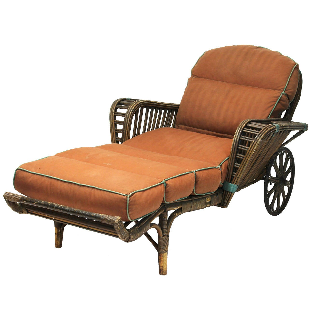 Antique stick wicker chaise at 1stdibs for Chaise antique furniture