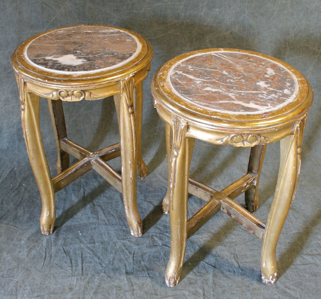 Pair Of Marble Topped Stools At 1stdibs