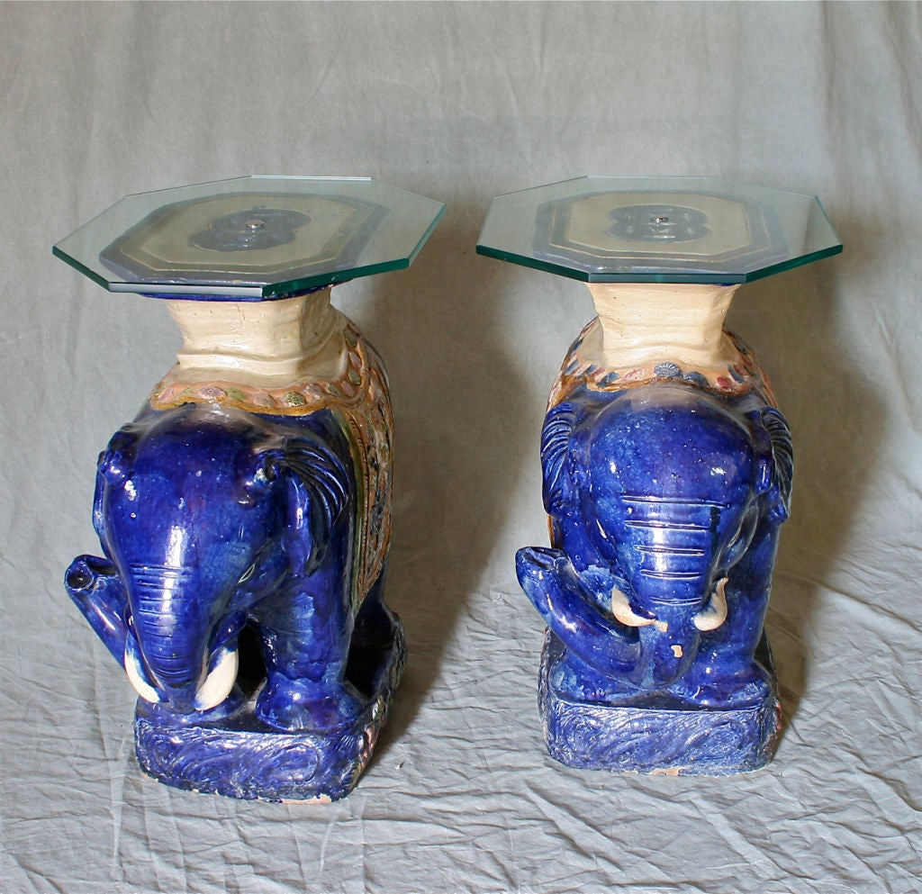 Pair Of Chinese Glazed Ceramic Elephant Tables At 1stdibs