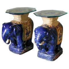 Pair of Chinese Glazed Ceramic Elephant Tables