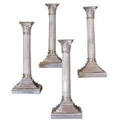 Set of 4 Sterling Silver Corinthian Column Candlesticks