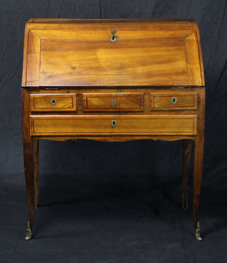 French Country Fruitwood Slant Front Desk On Cabriole Legs With
