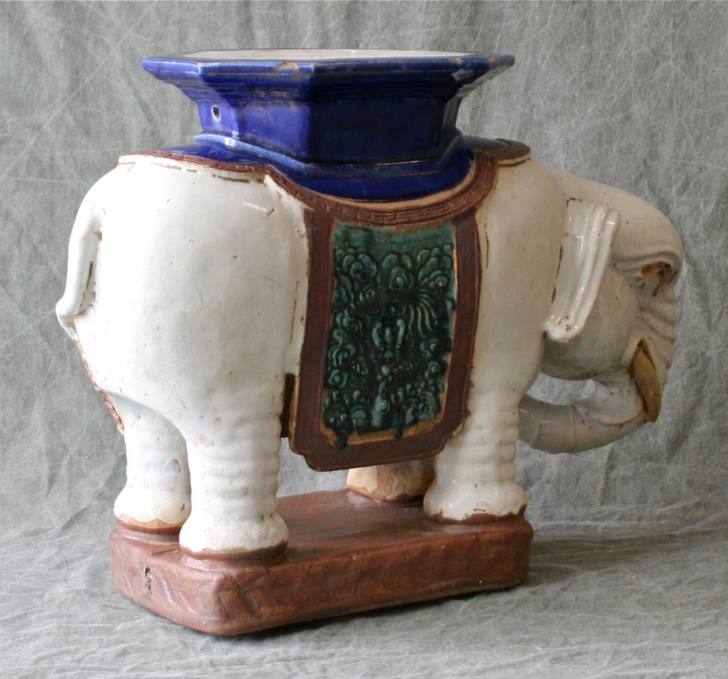 Glazed Ceramic Elephant Garden Seat Or Table At 1stdibs
