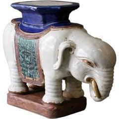 Glazed Ceramic Elephant Garden Seat or Table