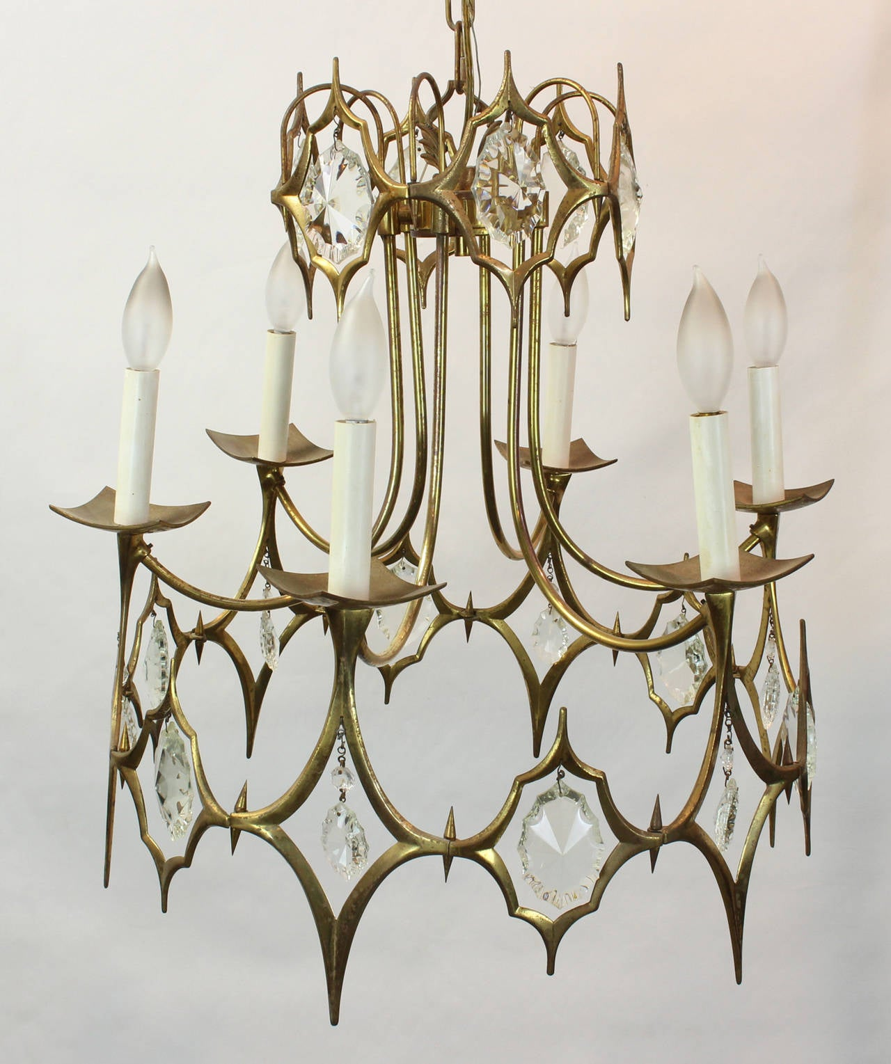 Italian Brass And Crystal Chandelier At 1stdibs