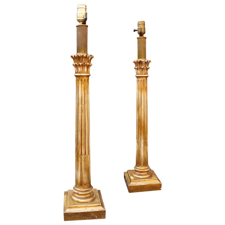 pair of carved wood corinthian column table lamps at 1stdibs. Black Bedroom Furniture Sets. Home Design Ideas