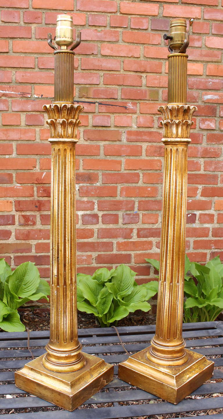 Pair of carved wood corinthian column table lamps at 1stdibs for Table column
