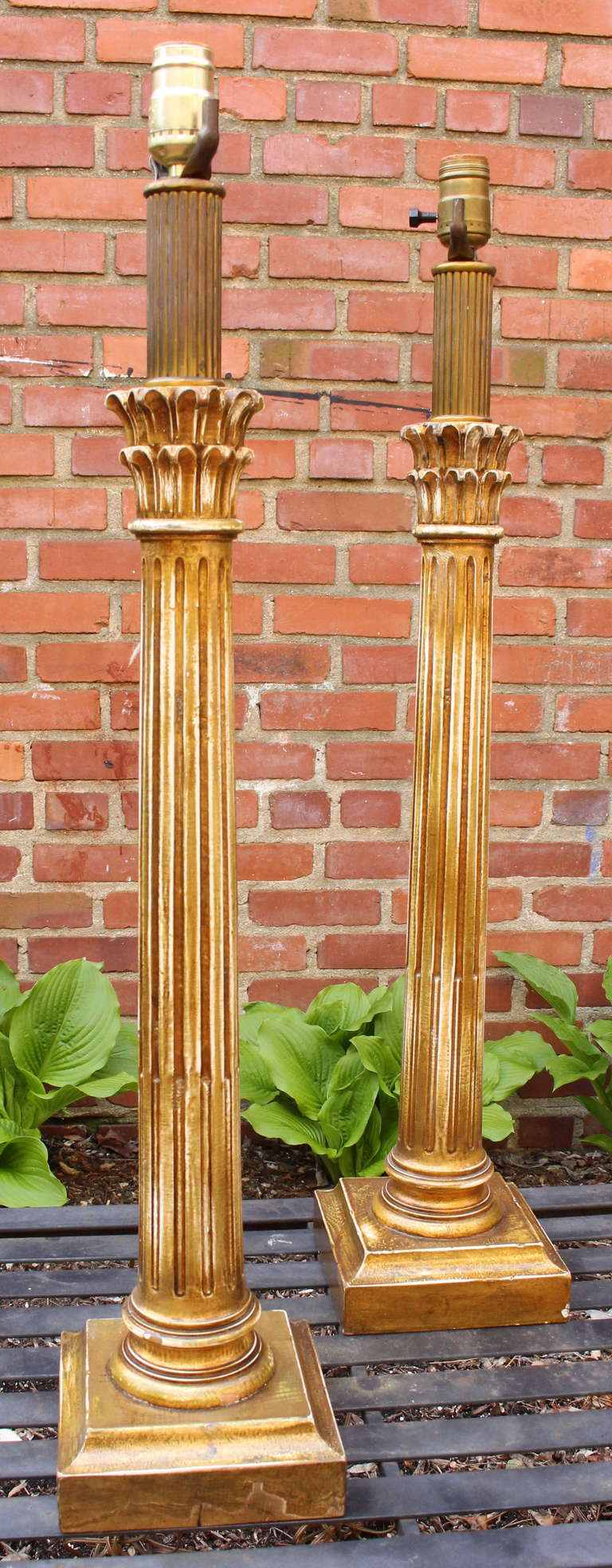 Pair Of Carved Wood Corinthian Column Table Lamps At 1stdibs