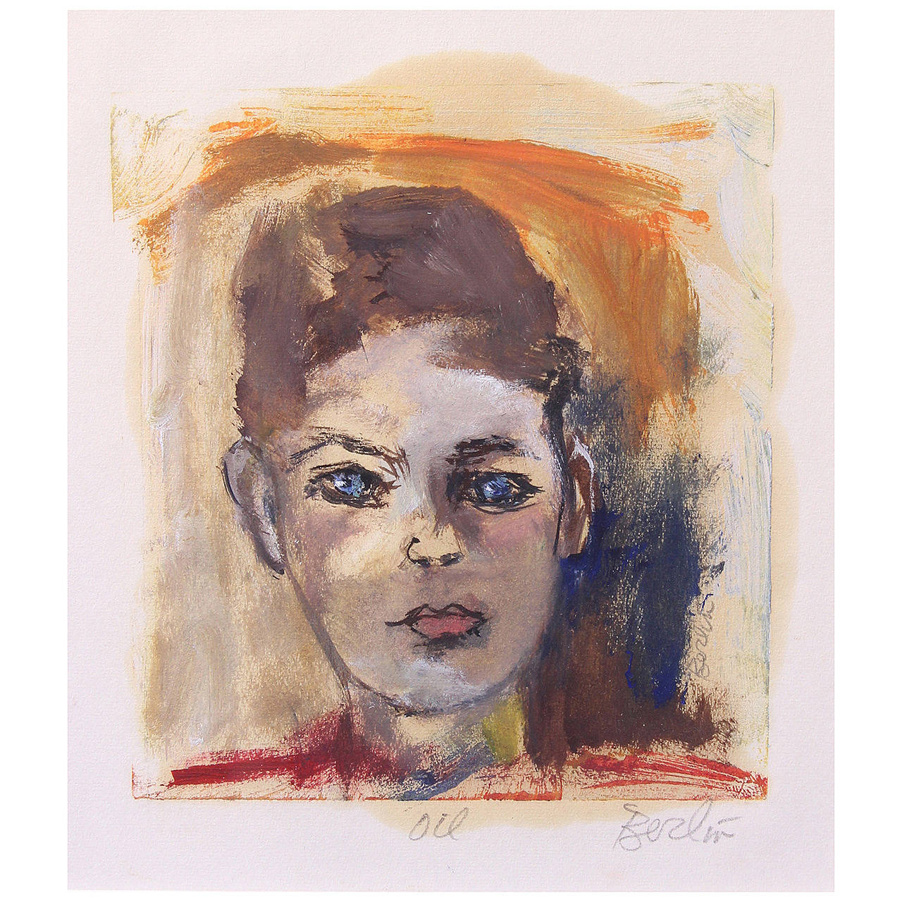 Oil on Paper Portrait of Young Man